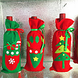 3pcs Wine Bottle Covers Sets Christmas Party Santa Claus Cap clothes for Bottle Xmas Gift Red New Year Home Decoration
