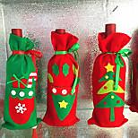 3pcs botella de vino cubre los sistemas de partidos ropa de santa claus tapa para la decoración del hogar de color rojo año nuevo botella