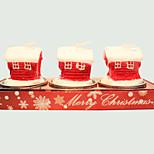 Vela do Natal 3pcs forma bonito casinha