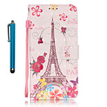 For Samsung Galaxy S7 edge S7  Case Cover with Stylus Butterfly Tower 3D Painting PU Phone Case S6 edge S6 S5 S4