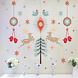 Happy Christmas Three Generations Of PVC Transparent Removable Wall Stickers 60*90CM