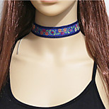 Women's Fashion Bohemian Ethnic Embroidery Floral Flowers Choker Necklace