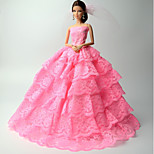 Princess Dresses For Barbie Doll Pink Lace Dresses For Girl's Doll Toy