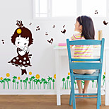Creative The Grass Girl Singing Wall Stickers Removable PVC Children's Bedroom Wall Decals