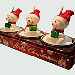 Christmas Candle Cute Snowman Shape 3Pcs