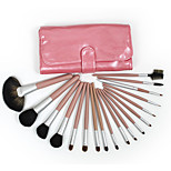 18 Makeup Brushes Set Horse/ Nylon Hair Professional / Portable Wood Face/Eye / Lip