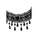 Classic Gothic Jewelry Black Lace 31mm Width Multilayer Beads Tassel Pendants Tattoo Choker Necklace