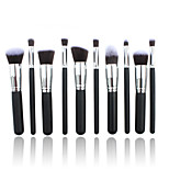 10 Makeup Brushes Set Nylon Hair Professional / Portable Wood Handle Face