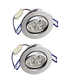 YouOKLight  2PCS 3W 280LM  3-LEDs Warm White/White  LED Ceiling Lamp - Silver (AC 85-265V)