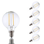 2W E12 LED Filament Bulbs G16.5 2 COB 200 lm Warm White Dimmable 120V 6 pcs