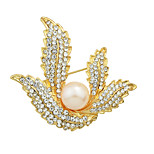 Elegant Imitation Pearl Rhinestone Flower Wedding Brooches for Women
