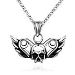 Муж. Ожерелья с подвесками Нержавеющая сталь В форме черепа Уникальный дизайн В виде подвески Панк Хип-хоп Серебряный БижутерияHalloween