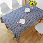 Square Striped / Patchwork Table Cloth , Linen Material Hotel Dining Table / Table Decoration