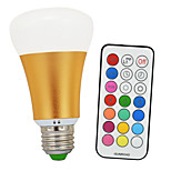 10W E26/E27 Lampadine globo LED A60(A19) 1 COB 900lm-1200lm lm Luce fredda / Colori primariControllo a distanza / Decorativo / Intensità