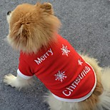 Hunde T-shirt Rot Hundekleidung Winter / Frühling/Herbst Schneeflocke Niedlich / Weihnachten