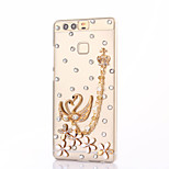 For Huawei P9 Plus Lite P8 Lite Rhinestone Case Back Cover Case Swan Hard PC  Honor 8 7 6 6Plus 5C 5X 4X 4C 4A Mate8 7