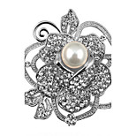 Women Silvery Alloy Flower Brooches