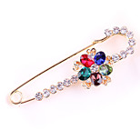 Women's Fashion Alloy/Rhinestone Flower Brooches Pin Wedding/Party/Daily Scarf Clips Jewelry Accessory 1pc