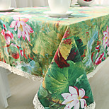 Square Patterned / Floral Table Cloth , Cotton Blend Material Hotel Dining Table / Table Decoration