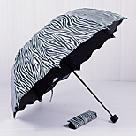 South Korea Princess Arched Zebra  Appollo Lotus Leaf Edge  Seventy Percent Off Sunny Umbrellas  Black Gel Anti UV  Sun Sun Umbrella