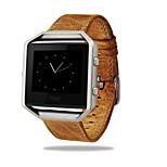 Luxury Genuine Leather Buckle Sport Watch Band Wrist Strap Metal Frame For Fitbit Blaze Smart Watch