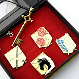 Inspired by Attack on Titan Eren Jager Anime Cosplay Accessories Necklace / Badge Golden Alloy