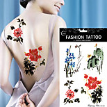 5Pcs  Watercolor Tattoo Sticker Peony Flower Tree Beauty Women Body Art Temporary Tattoo Sticker