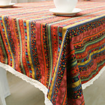 Square Patterned / Striped Table Cloth , Cotton Blend Material Hotel Dining Table / Table Decoration
