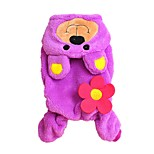 Lovely Purple Bear Shape Costume Coat with Hoodie and Pants for Pets Dogs(Assorted Sizes