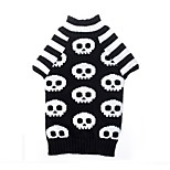 Katzen Hunde Pullover Hundekleidung Winter Frühling/Herbst Totenkopf Motiv Lässig/Alltäglich Halloween Weiß/Schwarz
