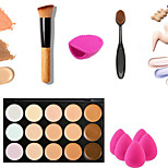 15 Colors Concealer Palette Kit with Brush Face Makeup Contour Cream Oval Brush