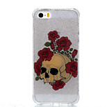 For Double IMD Case Back Cover Case Rose Skeleton pattern Soft TPU Apple iPhone 7 7 Plus 6s 6 Plus SE 5s 5