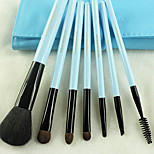 7 Makeup Brushes Set Synthetic/Horse Hair Professional / Portable Wood Handle Face/Eye/Lip Blue