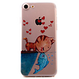 Para Estampada Capinha Capa Traseira Capinha Gato Macia TPU AppleiPhone 7 Plus / iPhone 7 / iPhone 6s Plus/6 Plus / iPhone 6s/6 / iPhone