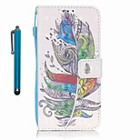 For Samsung Galaxy A5 (2016) A3 (2016) Case Cover with Stylus Colorful Feathers 3D Painting PU Phone Case