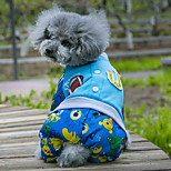 Dog Coat / Clothes/Jumpsuit Red / Blue Dog Clothes Winter Cartoon Sports / Keep Warm