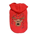 Dog Hoodie Red Dog Clothes Winter Deer Holiday / Christmas