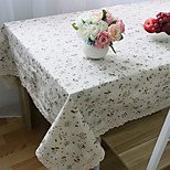 Rectangular Floral Table Cloth , Linen / Cotton Blend MaterialHotel Dining Table / Wedding Party Decoration / Wedding Banquet Dinner /