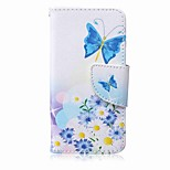 Blue Butterfly Painting PU Phone Case for apple iTouch 5 6