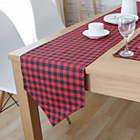 Rectangular Patterned / Plaid Table Runner , Linen Material Hotel Dining Table / Table Decoration
