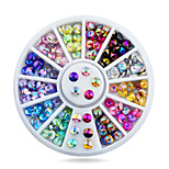 1pcs 4mm Nail Art Tips Sharp Glitter Crystal AB Colors Rhinestone Decoration Wheel