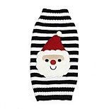 Cat / Dog Sweater Red / Blue / Black Dog Clothes Winter Stripe Cute / Christmas