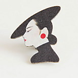 Women Black Alloy Character Brooches