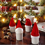 1 Pcs Christmas Decorations Christmas Cap Flannelette Cloth Cap Christmas Hat Knife And Fork