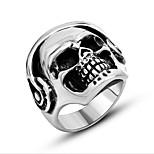 Кольцо Бижутерия Титановая сталь В форме черепа Панк Серебряный Бижутерия Повседневные 1шт