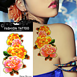 5Pcs  Waterproof  Pink Golden Peony Flower For Women  Body Art Paint Temporary Tattoo Sticker