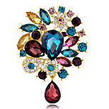 Damenmode-Legierung / Rhinestone / Kristall Blume Wassertropfen BroschenPin Partei / täglich / Hochzeit Luxus-Schmuck 1pc