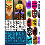 10pcs Christmas Theme Nail Halloween Art Stamp Lace DIY Nail Christma Printing Blue FilmTemplate Image Plate Born Pretty Nail Stamping Plates