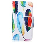 Color Feather Painting PU Phone Case for apple iTouch 5 6