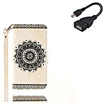 For Samsung Galaxy Note 5 Case Cover Card Holder Wallet with Stand Flip Embossed Pattern Case Full Body Case Mandala Hard PU Leather With USB Cable
